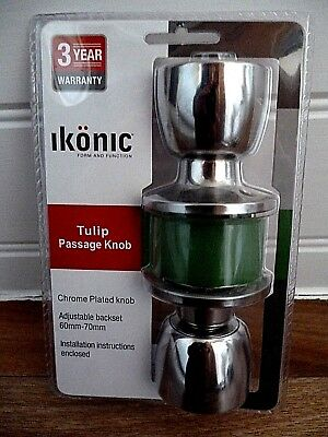 ikonic Tulip Passage Knob Set Chrome Plated Door Handle suitable internal doors ()