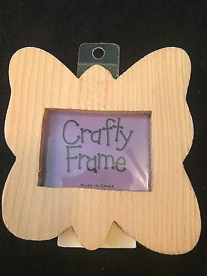 Unfinished Wooden  ButterFly Bug Picture Frame  NWT Craft/Paint