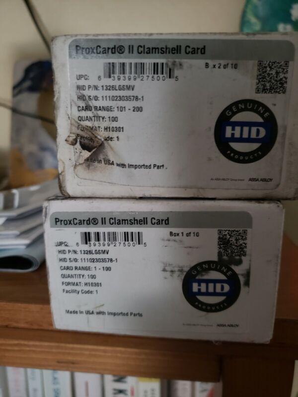 100x HID 1326 ProxCard II RF Ideas Prox Clamshel Card 26Bit F:H10301 FC:183 RFID