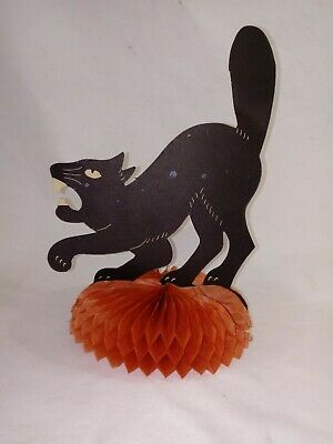 RARE 1926 Black Cat PAPER FOLD OUT Table Centerpiece WITH METAL STAND CLIP~NICE