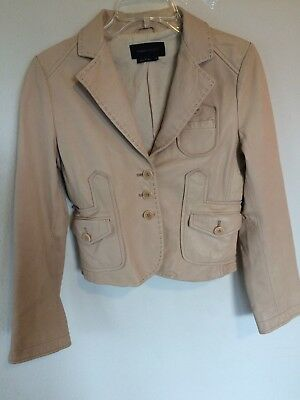 bcbg max azria tan or off white leather jacket, size small, excellent condition