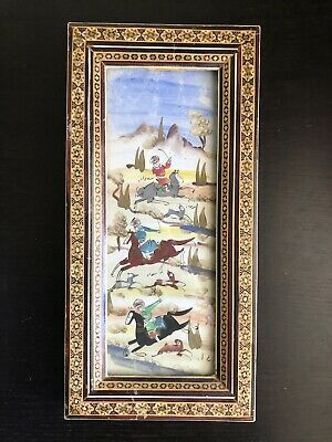 VTG Antique Persian Painting Khatam Inlay Horses Hunters Art Wooden Frame NICE