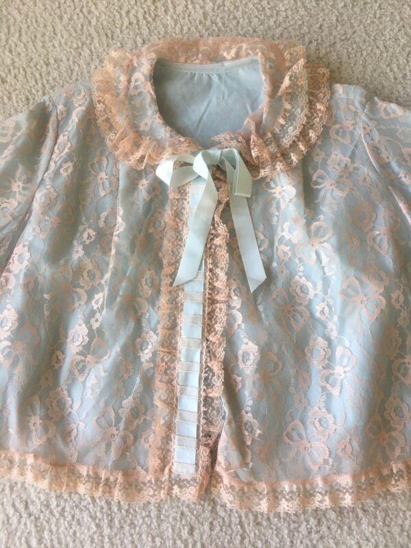 Vintage Odette Barsa Unworn Lace Bed Blue Lace Bed Jacket Med 60's