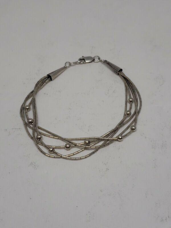 Liquid Silver 5 Strand Beaded Bracelet Sterling Silver w/silver beads 5.0 grams