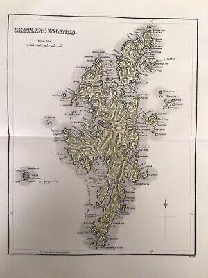 Shetland Islands 1885 Antique County Map, Bartholomew, Atlas, Scotland, Colour