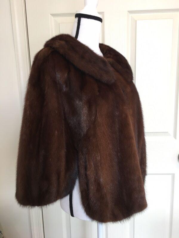 Vintage Brown Mink Fur Cape/Stole/Jacket Size S/M/L