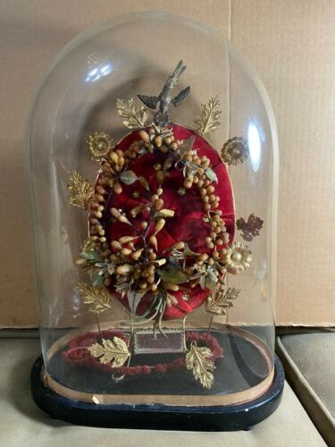 "Superb Antique Victorian ""Globe de Mairee"" Wedding Dome In Glass Case"