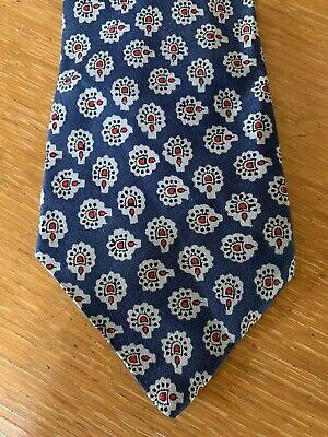 New 1930s Mens Fashion Ties Vintage 1930s Brocklehurst Tie Hand-Blocked English Silk Paisley Blue Red Gray $15.00 AT vintagedancer.com