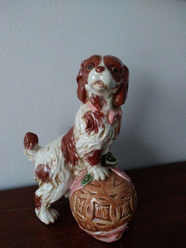 Large Cavalier King Charles Spaniel Ceramic Figurine STAFFORDSHIRE Style