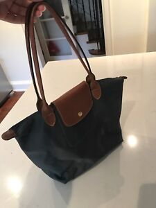 Long Champ handbag - small/medium size - charcoal grey