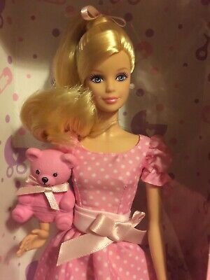 It's A Girl Blonde Ponytail Polka Dress Barbie Doll Pink Teddy Bear 2013 1st Ed