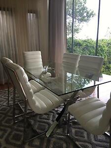 Lux Dining Table and Leather Chairs Mosman Mosman Area Preview