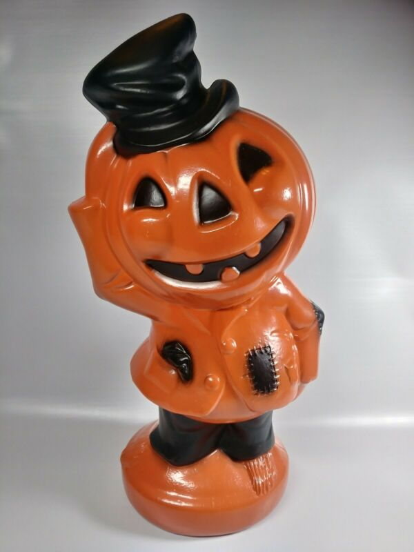 NWT Vtg Inspired Halloween Blow Mold Pumpkin Head Jack O Lantern Tabletop