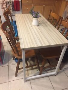 FREE WOOD DINING CHAIRS and office desk
