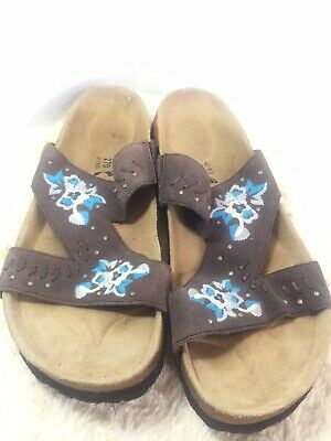 Betula Birkenstock Sandals sz EUR 42 US 11 Brown Flower Embroidered Boho EUC