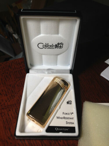 Colibri Quantum Force V Wind Resistant Cigar Lighter, Gold Plated