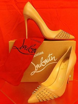 NIB LOUBOUTIN BARETA NUDE LEATHER GOLD TONE STUDDED SPIKES CLASSIC PUMPS 39.5