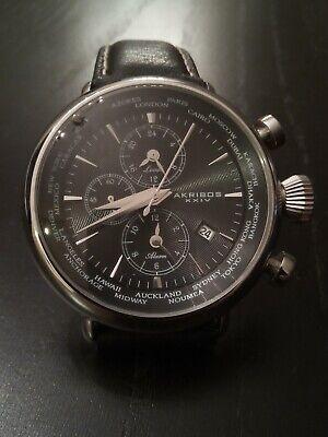Akribos XXIV Explorer AK629BK Multi-Function World Time Alarm Watch- BEAUTIFUL!!