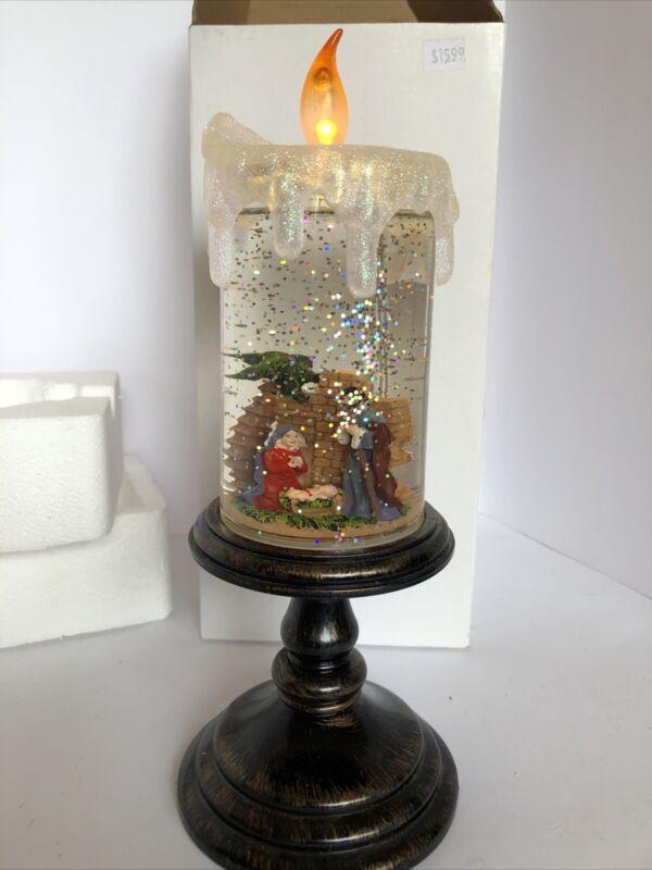acrylic water candle nativity scene