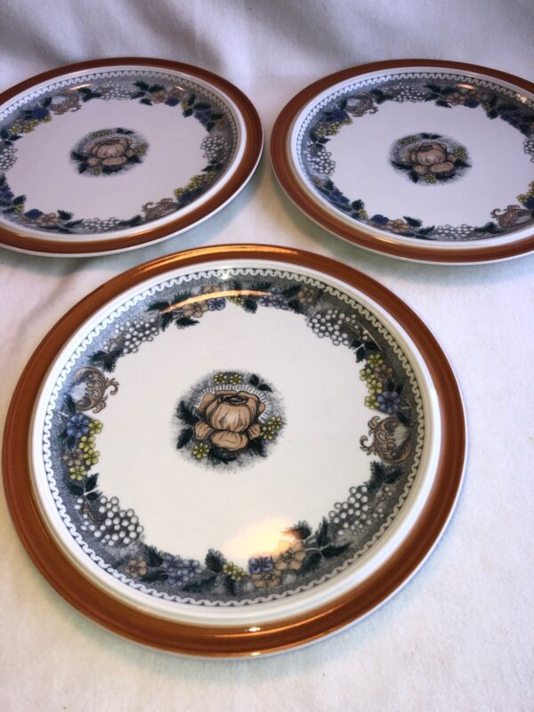 3 Goebel Country Burgund Porcelain Dinner Plates/ Bavaria- Germany-Oeslauer 10""