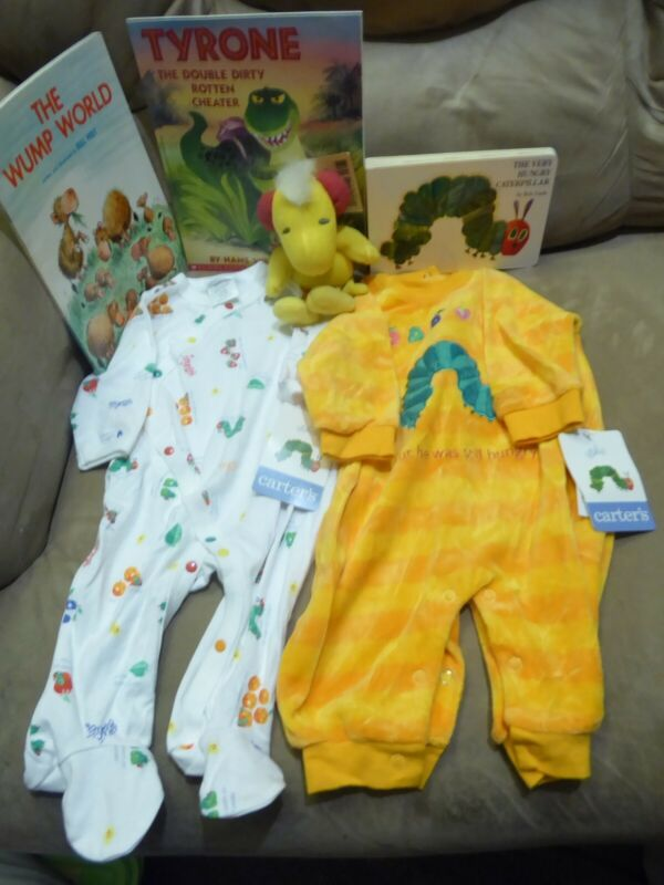 6 items for Baby Carter's Hungry Caterpillar 0-3 & 3-6 Romper 3 books Woodstock