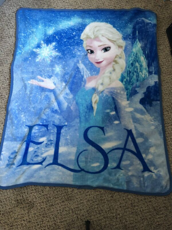 "DISNEY FROZEN Soft Fleece ELSA throw blanket Used 45"" X 36"""