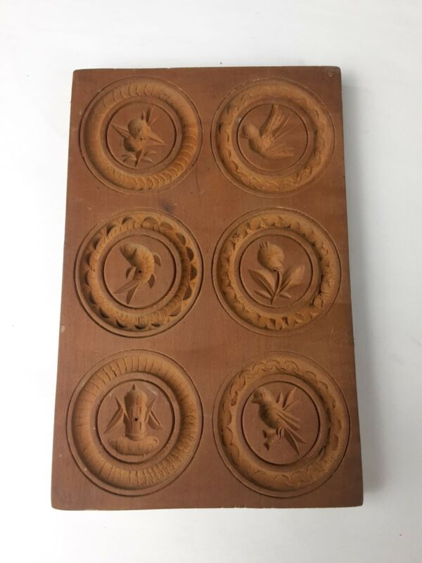 Antique Vintage Wooden Carved Cookie Mold Boards For Springerle/Speculaas