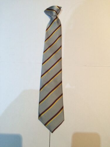 Navy Blue Mens Clip On Tie Clipper with Red Stripes Bordered with Narrow White