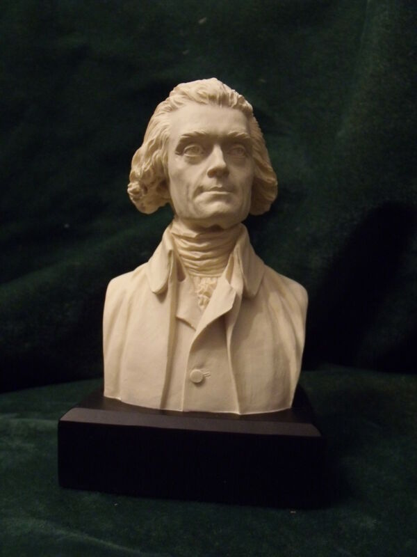 "Thomas Jefferson Statue/Bust  : NEW IN BOX  6"" High / WHITE w/Black Base"