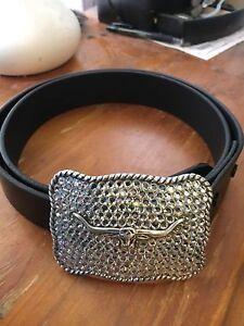 R M Williams diamanté belt buckle and black leather 42inch belt Cranebrook Penrith Area Preview