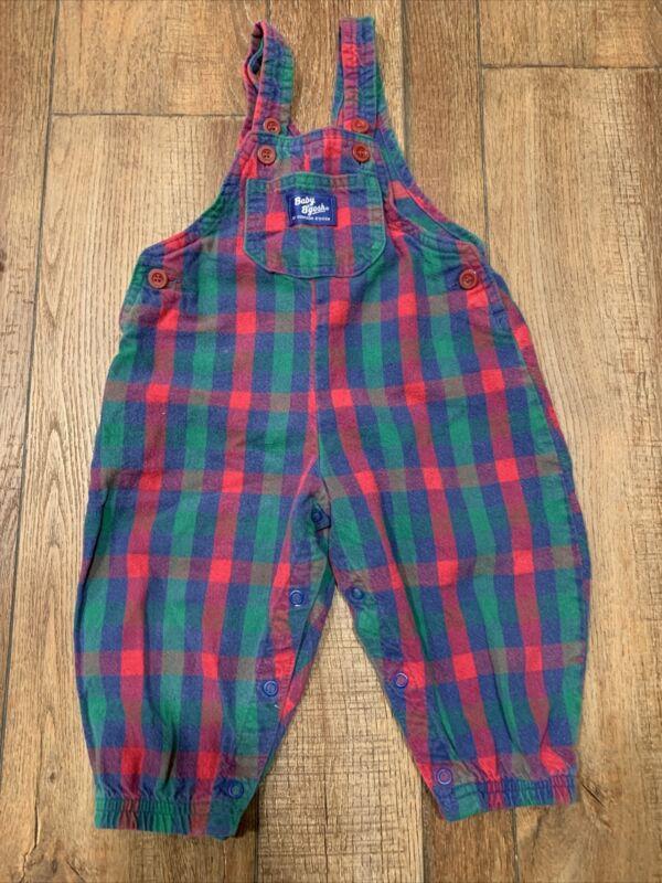 Vintage OshKosh Bgosh Vestbak Plaid Overalls 18mth Flannel
