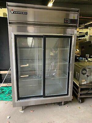 Victory 2 Door Glass Sliding Door Refrigerator Cooler Merchandiser Used
