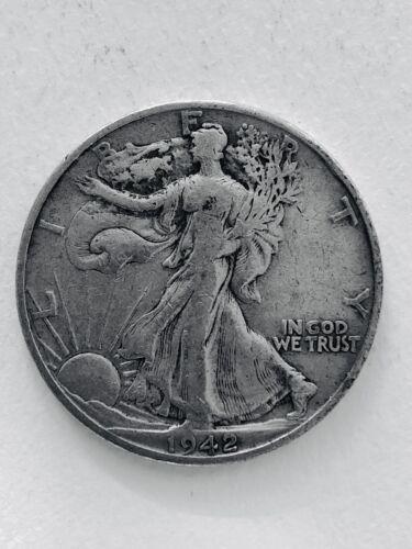 1942-D Walking Liberty Half Dollar , Very Fine 90 Silver Coin - $11.23