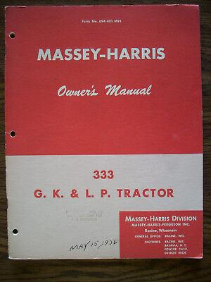 Massey Harris 333 Owners Manual