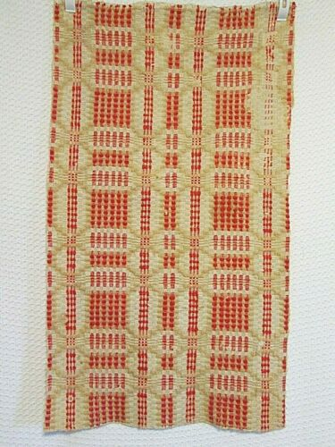 """Antique Woven Red Tan Natural Coverlet Piece 16 X 28"""" Table Runner or Crafts"""