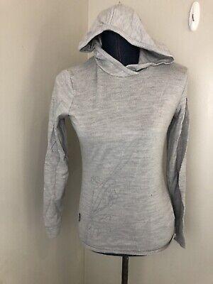 Womens Icebreaker New Zealand Size Small Gray Long Sleeve Hoodie Merino Wool