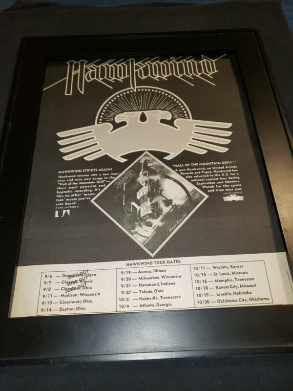 Hawkwind Hall Of The Mountain Grill Rare Original Promo Poster Ad Framed!