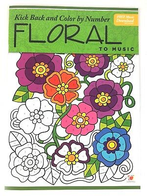 Adult Coloring Book Color by Number Floral Kick Back and Color To Music  - Number Book
