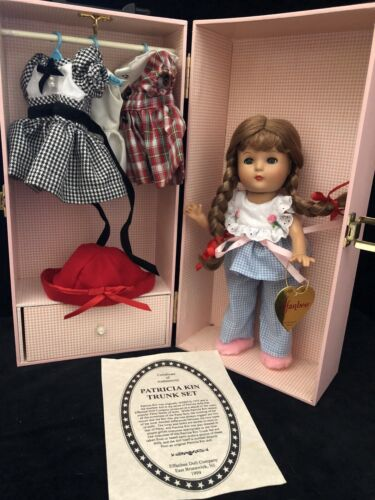 "Effanbee Patricia Kin 11"" Doll Trunk 1999 Set W Clothes All Excellent Pink Case"