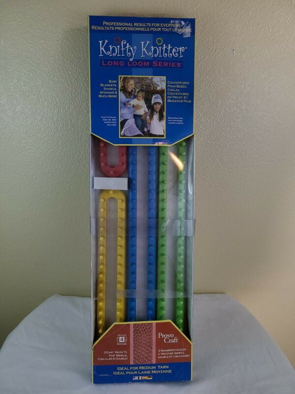 Provo Craft Knifty Knitter 4 Piece Long Loom Series Set Knitting Kit
