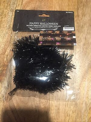 Black Halloween Lighted Tinsel Battery Operated Garland