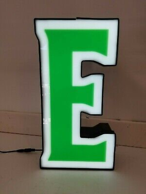 Letter E Retro Marquee Channel Letter E Sign Green White Led