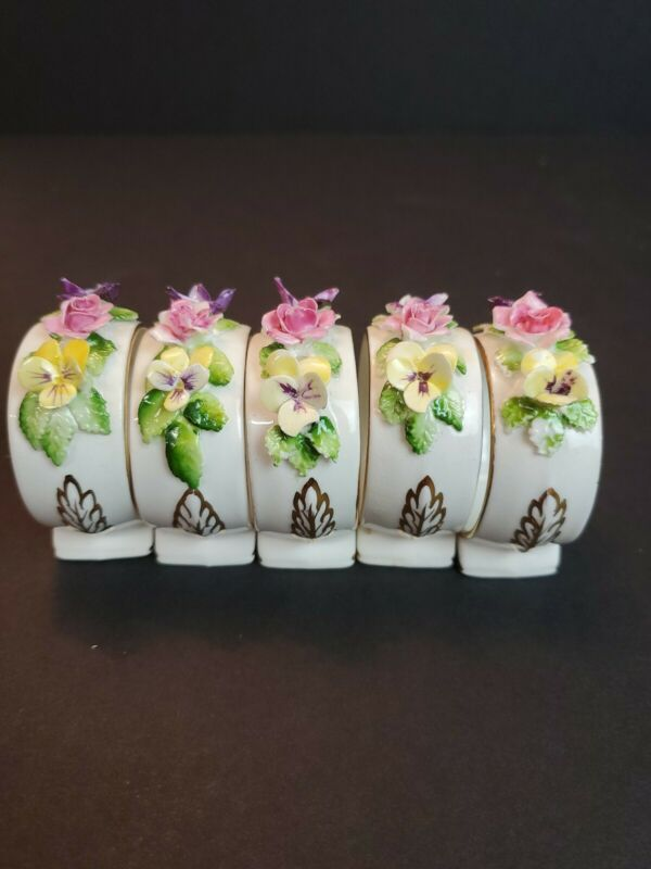 5 Vintage Royal Adderley Bone China Napkin Rings White Floral Gold Trim England