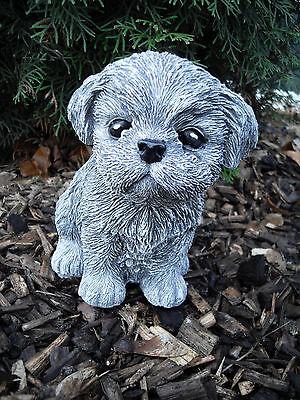 Steinfigur Hund Shih Tzu / Malteser   Frostfest Wetterfest Steinguss Deko Garten