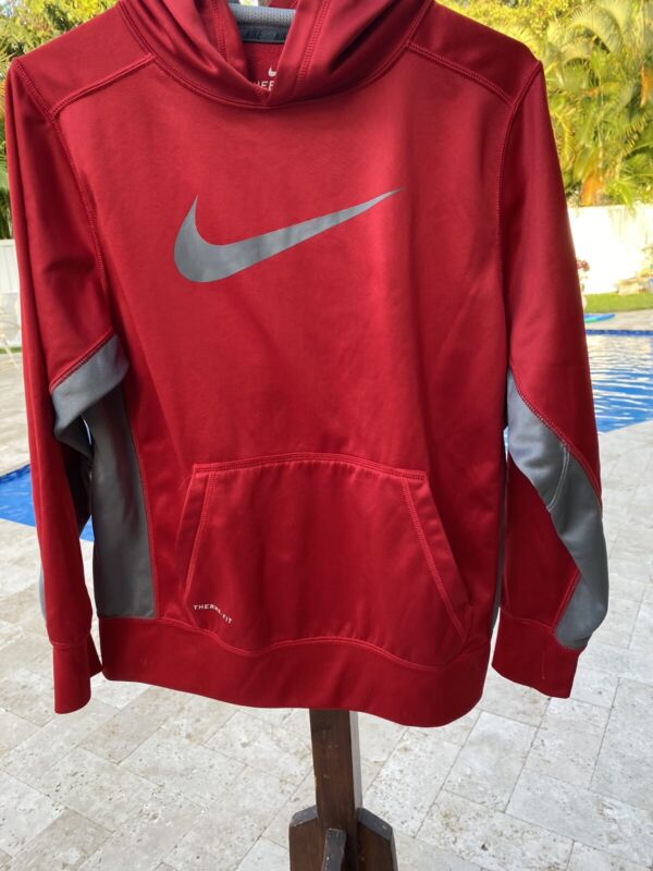 🔥 Nike Youth Large Red Therma Fit Pullover Hoodie Sweatshirt