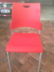 Four Buro Red Plastic Chairs Winthrop Melville Area Preview