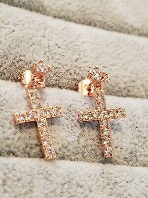 Bright rose gold plated multi crystal cross shape dangle earrings  Multi Cross Dangle