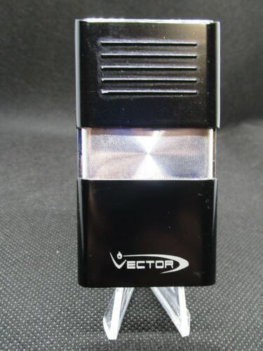 VECTOR KGM ANDROID CIGAR SINGLE TORCH LIGHTER – BLACK WITH POLISHED CHROME - NEW