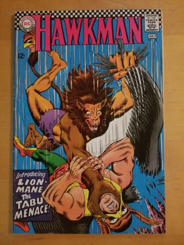 Hawkman #22 DC (1967) Lion Mane The Tabu Menace. Nice Silver Age Comic