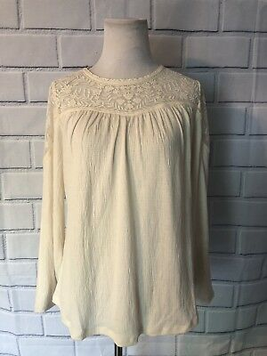 NWT Style & Co Lace Top Blouse Sz PM Cream Ivory Long Sleeve Tunic Top New $44